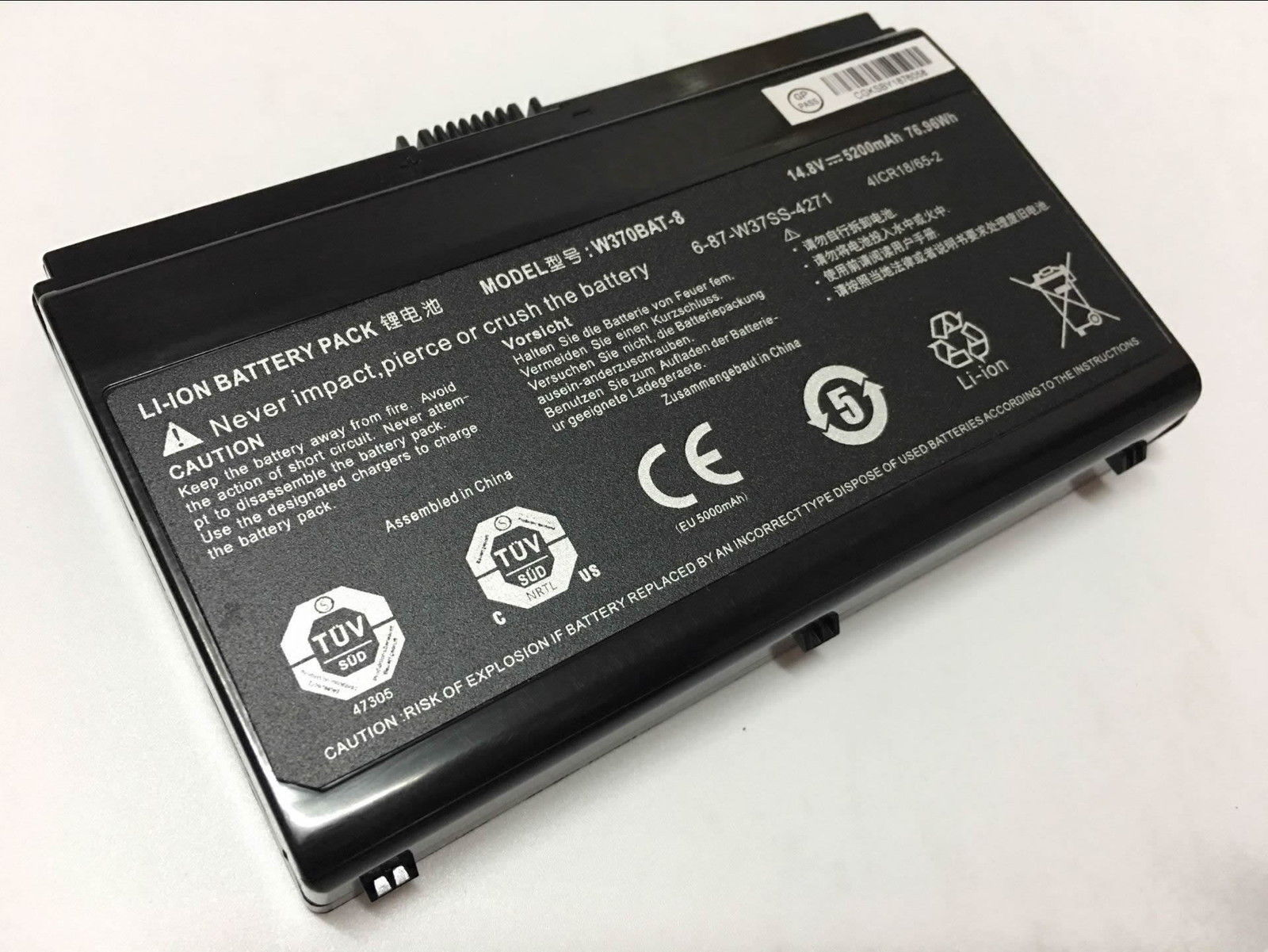 Clevo 6-87-W37ES-427 W370BAT-8 W350ET W350ETQ W355STQ compatible battery