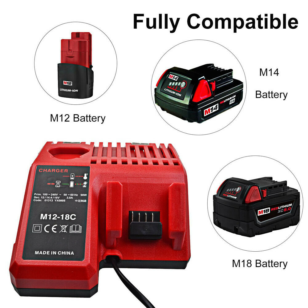 Battery Charger Milwaukee M18 M12-18C 48-59-1812 MIL-M18-CH01 18V Li-ion